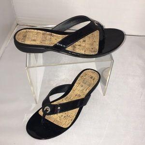 Ralph Lauren Black Patent Thong Low Heel